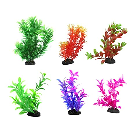 6 plantas artificiales de plástico para acuario, estanque de agua dulce, decoración de plantas