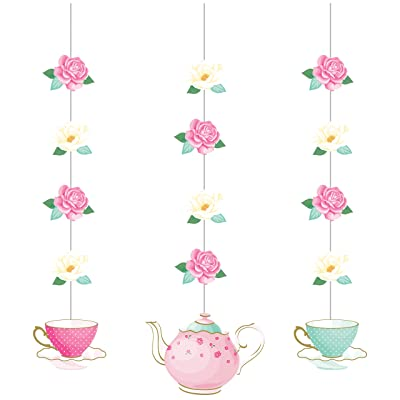 Floral Tea Party Hanging Decorations, 3 ct: Toys & Games