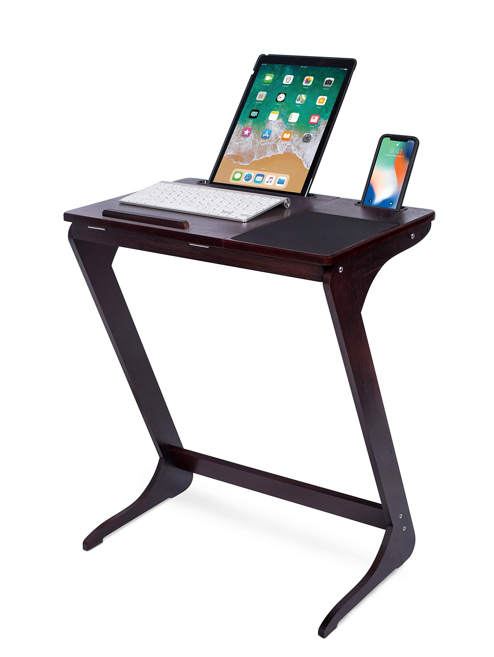 Sofia + Sam Sofa Side Table TV Tray with Tablet and Phone Slots | Wooden Z Legs | Couch Console Lapdesk | Adjustable Top Table | Laptop Stand | Small Breakfast Eating Food | Dinner Lunch Snack Reading