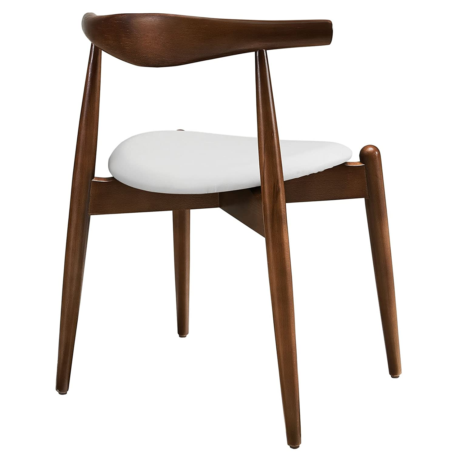 Elegant Amazon.com   Modway Stalwart Beechwood Mid Century Dining Chair With Faux  Leather Seat In Walnut White   Chairs