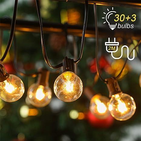 new concept 0e22f 065e0 30+3 Outdoor Garden String Lights, Kohree 35FT G40 Globe Festoon String  Light Bulb IP45 Waterproof for Garden Terrace Patio Christmas Wedding Party