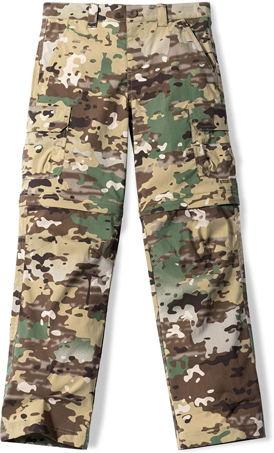 Small Boy Convertible bxp432 8 - Utility Camo CQR Kids Boys and Girls Pants Youth Hiking Adventure Convertible Zip Off Stretch Camping UPF 50+ Quick Dry Cargo Trousers