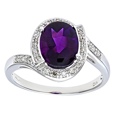 Naava 9ct Yellow Gold Ladies Diamond and Amethyst Ring VX9tMWvRS7