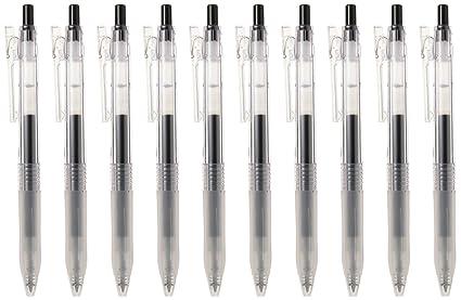 MOMA Muji bolígrafo punto de bola claro Jel Negro 0.5 mm 10 Pen ...