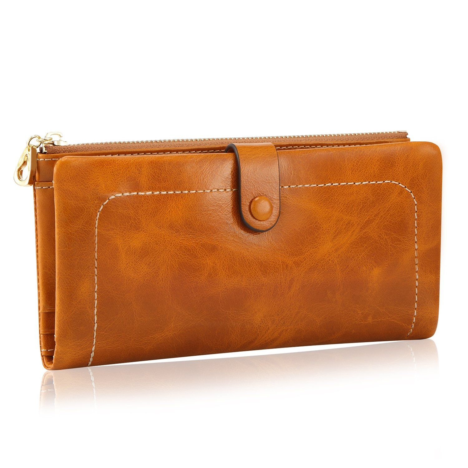 Kattee Women's Fashion Real Leather Zipper Wallet Card Bag Coin Case Phone Holder Brown by Kattee (Image #2)