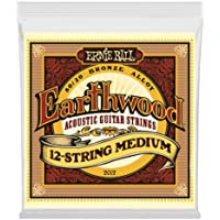 Ernie Ball Earthwood - Set acústico de bronce, 12 Cadenas, 12 cuerdas medianas, Medium