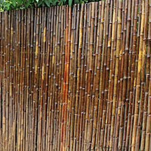NSYNSY Outdoor Bamboo Fence Courtyard Screen Partition Wall Decoration (Color : Carbonized Bamboo, Size : H100W100CM)