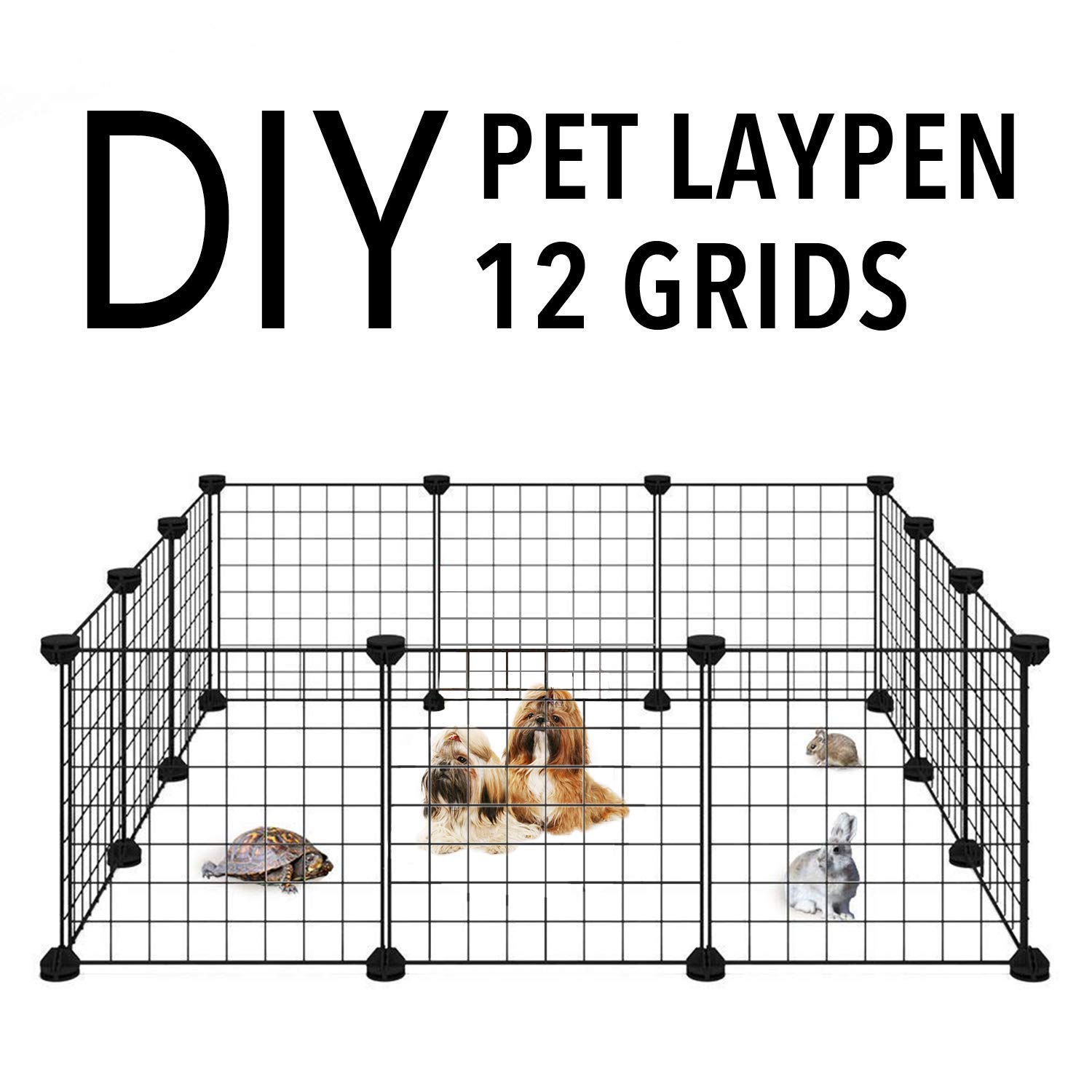 Allisandro Small Pet Playpen, Small Animal Cage for Indoor Outdoor Use, Portable Metal Wire Yard Fence for Small Animal, Puppy, Kitten, Guinea Pigs, Bunny, Turtle, Hamster