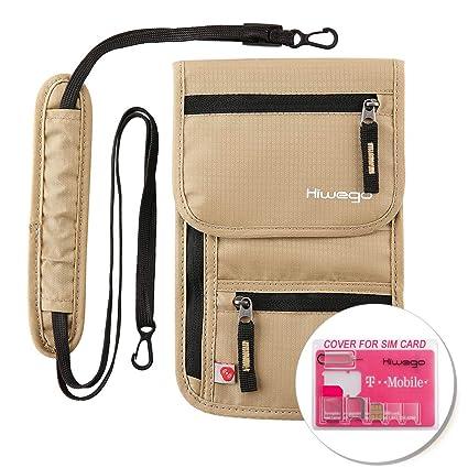 dccf2c73de4a Travel Neck Pouch Hidden Passport Holder Wallet RFID Blocking/Neck Stash  For Men Women