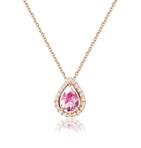 d34b03f71f3d 18 K Rosa Oro Natural diamante turmalina colgante collares Carleen elegante  mujer joyas colgantes con 15.74