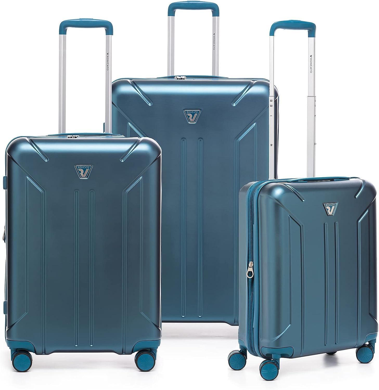 RONCATO Link Set de 3 maletas rígidas ampliables con toma USB Petróleo