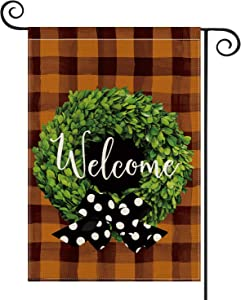AVOIN Fall Boxwood Wreath Welcome Garden Flag Vertical Double Sized Watercolor Buffalo Check Plaid, Polka Dot Bow Autumn Thanksgiving Holiday Yard Outdoor Decoration 12.5 x 18 Inch