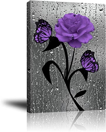 Purple Butterfly And Flowers Picture Print On Framed Canvas Wall Art Decoration