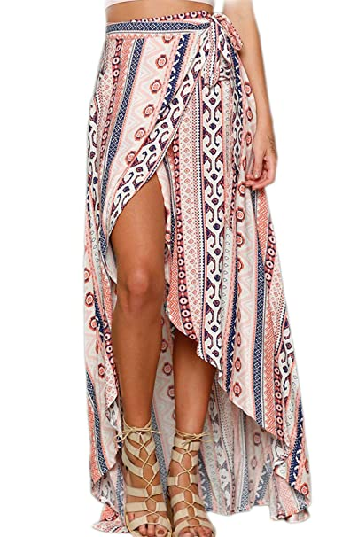 60% clearance best choice for sale Women Boho Skirt Summer Wrap Chiffon Bohemian Floral Maxi Skirts