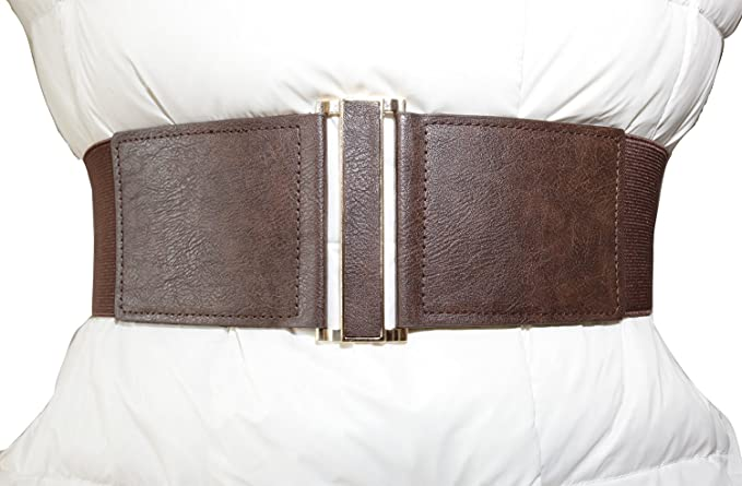 Victorian Inspired Womens Clothing Modeway Womens Leather 3wide Elastic Stretch Cinch Waist Belt Metal Buckle Fashion Waistband  AT vintagedancer.com