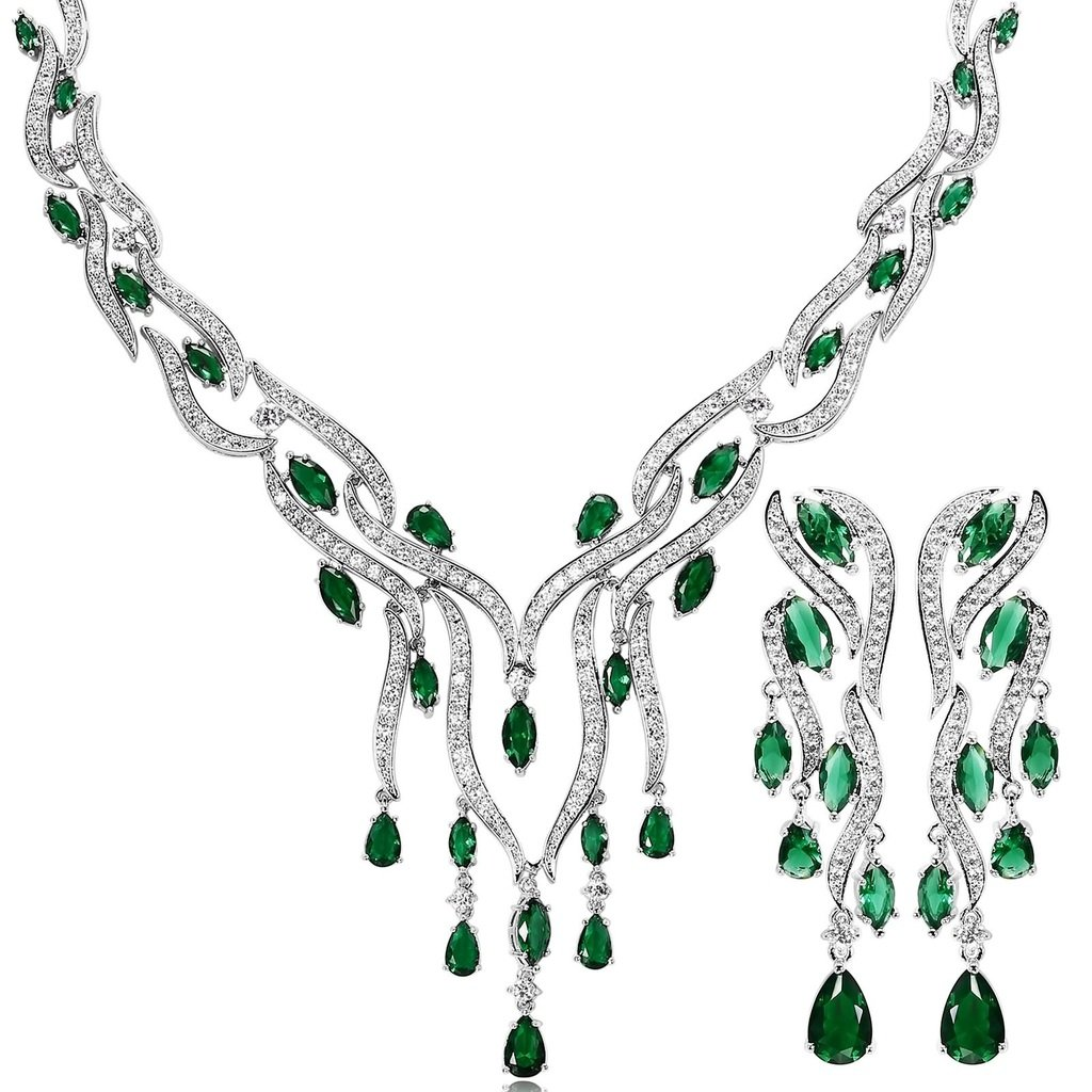 KnSam Women Platinum Plate Leaf Tassel Green Necklace Earrings Set Crystal [Novelty Bridal Jewelry Set]