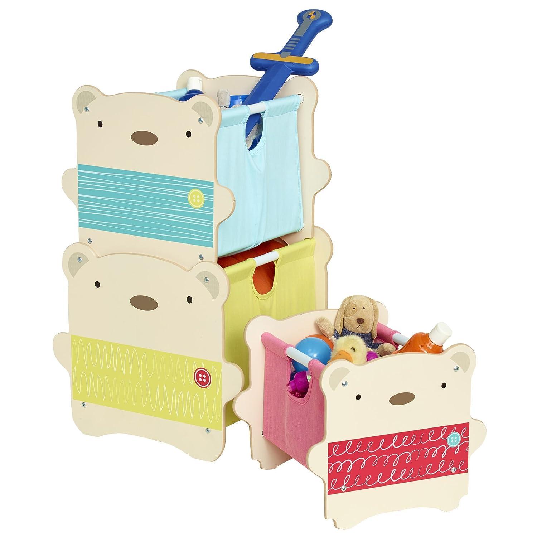 Worlds Apart 518SNG01E Aufbewahrungslösung im Bärendesign zum Stapeln für Kinder – 3 Spielzeugaufbewahrungskisten