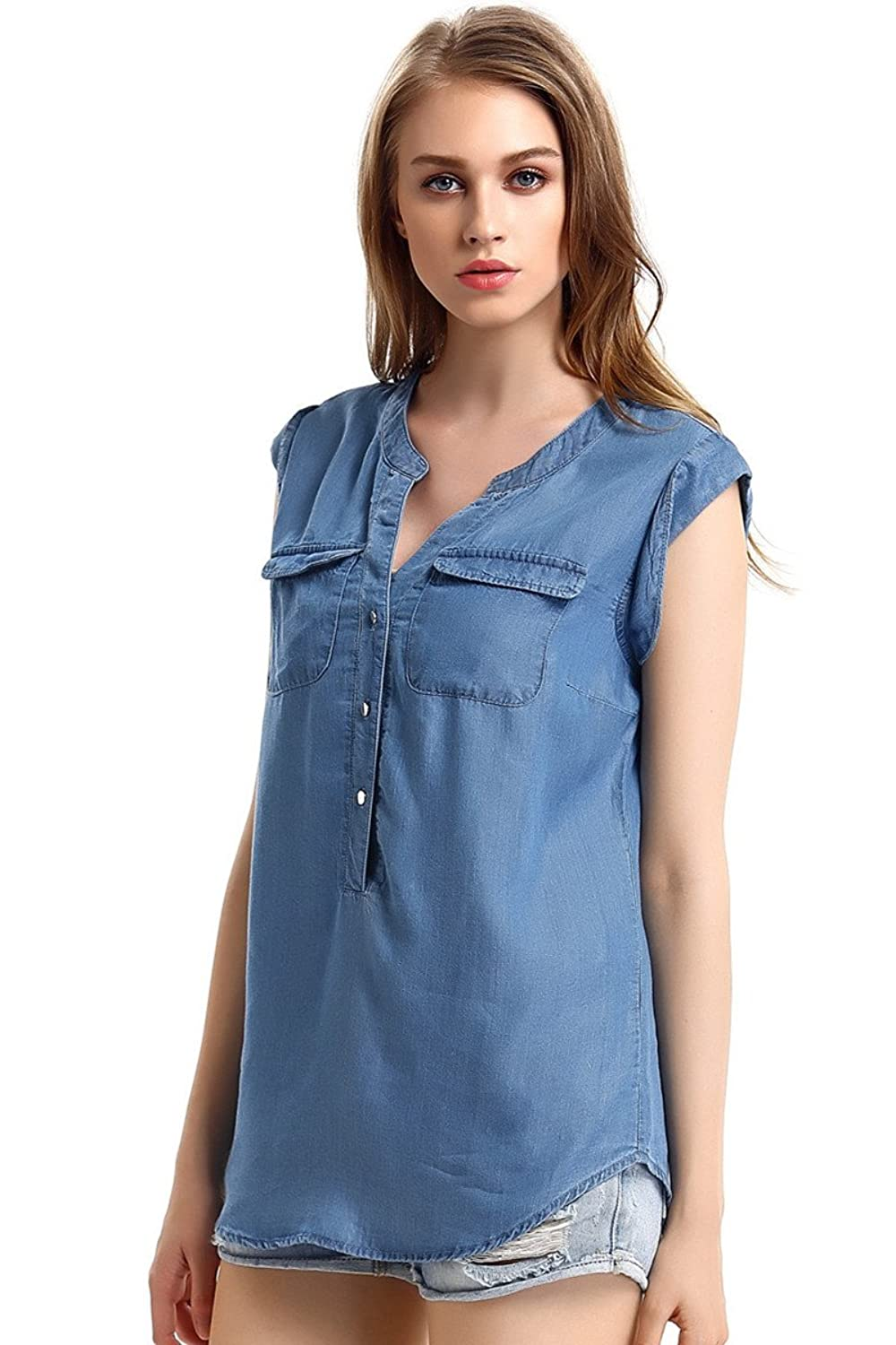 Escalier Women`s Sleeveless V-neck Tencel Denim Blouse Tank Tops