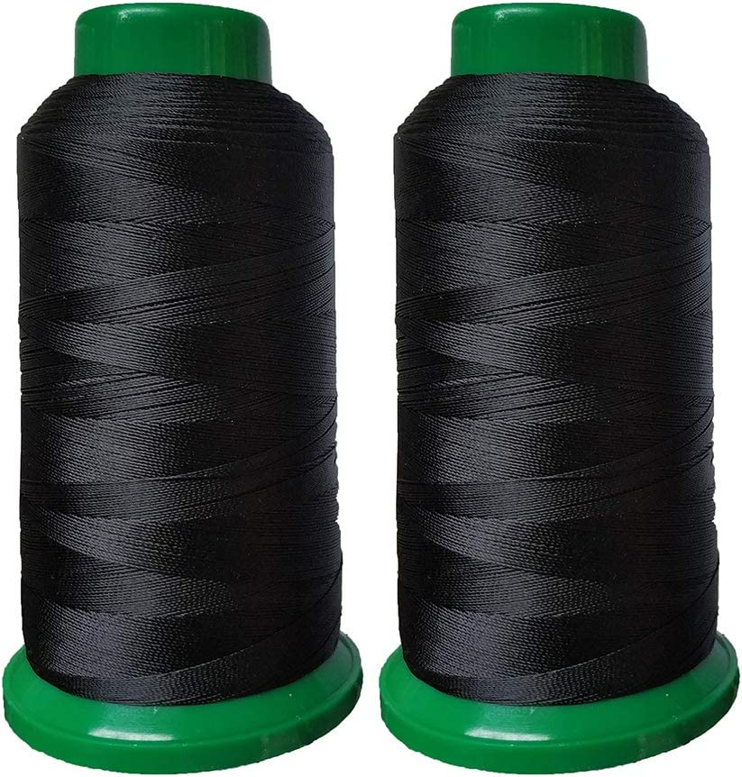 Drapery Upholstery High Strength Polyester Thread Sewing Thread 1800 Yard Size T70#69 210D//3 for Weaves Black Purses Beading Jeans and Weaving Hair Leather