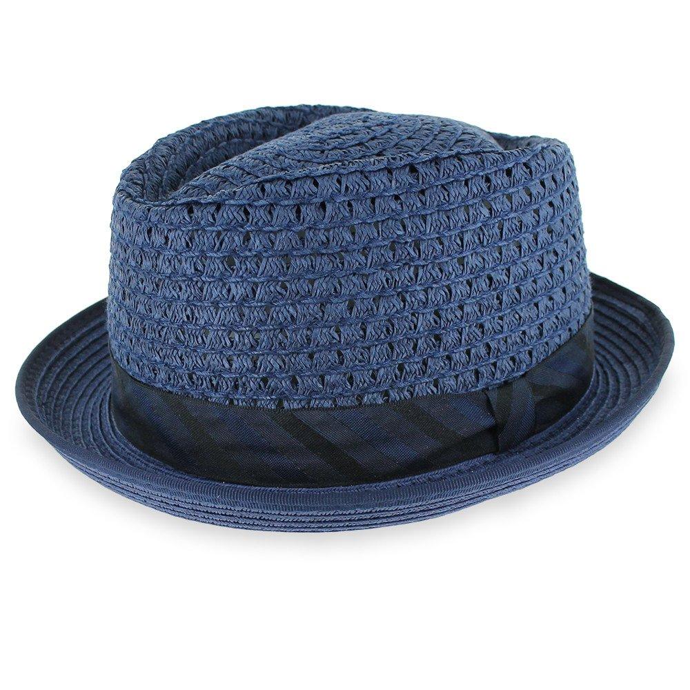 Belfry Men/Women Summer Straw Pork Pie Trilby Fedora Hat in Blue, Tan, Black (XLarge, Blue)