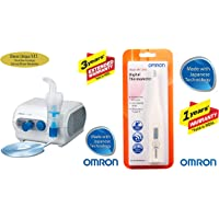 Omron NE C28 Compressor Nebulizer For Child and Adult With Virtual Valve Technology Ensuring Optimum Medicine Delivery to the Raspiratory System & Omron MC 246 Digital Thermometer With Quick Measurement of Oral & Underarm Temperature in Celsius & Fahrenheit, Water Resistant for Easy Cleaning