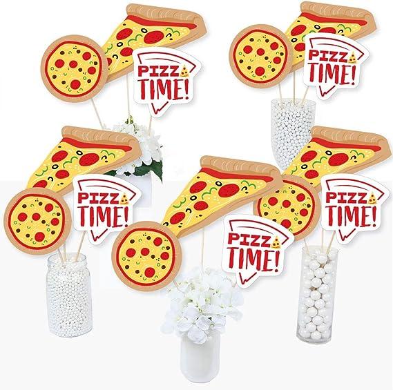 Pizza Party Time - Juego de 15 palos de centro de mesa para fiesta de cumpleaños o baby shower: Amazon.es: Juguetes y juegos