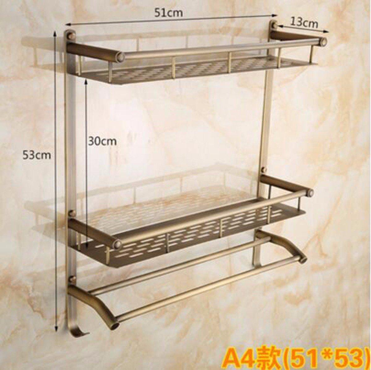 SJQKA Towel rack The Whole European Antique Copper Double Bathroom Shelf Cosmetic Rack Hook Towel Rack,A4