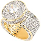putouzip Men Women 18K Gold Plated CZ Rhinestone Fully Iced Out Ruby Punker Cuban Ring