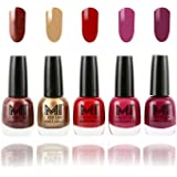 MI Fashion® Bold and Beautiful Combo of 5 Nail Polish- Shimmer Coffee, Delightfully Golden, Daring Red, Pucker Up Plum and Wonder Wine-12 ml each
