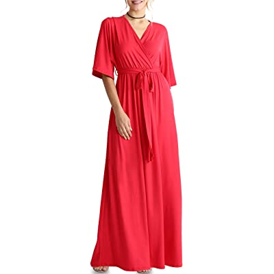 Flowy Long Maxi Wrap Dresses for Women with Tie Belt Plus Size and Reg. - Made in USA at Women's Clothing store