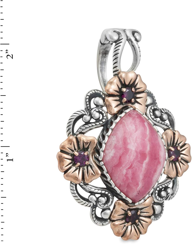 925 Silver /& Copper Rhodochrosite /& Rhodolite Floral Pendant Enhancer Relios cp6-3624-085