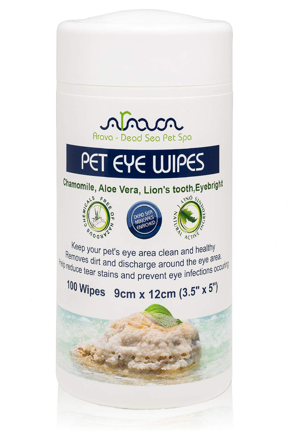 Arava Pet Eye Wipes – for Dogs Cats Puppies & Kittens – 100 Count – Natural and Aromatherapy Medicated – Removes Dirt Crust and Discharge – Prevents Tear Stain Infections & Irritations – Soft & Gentle