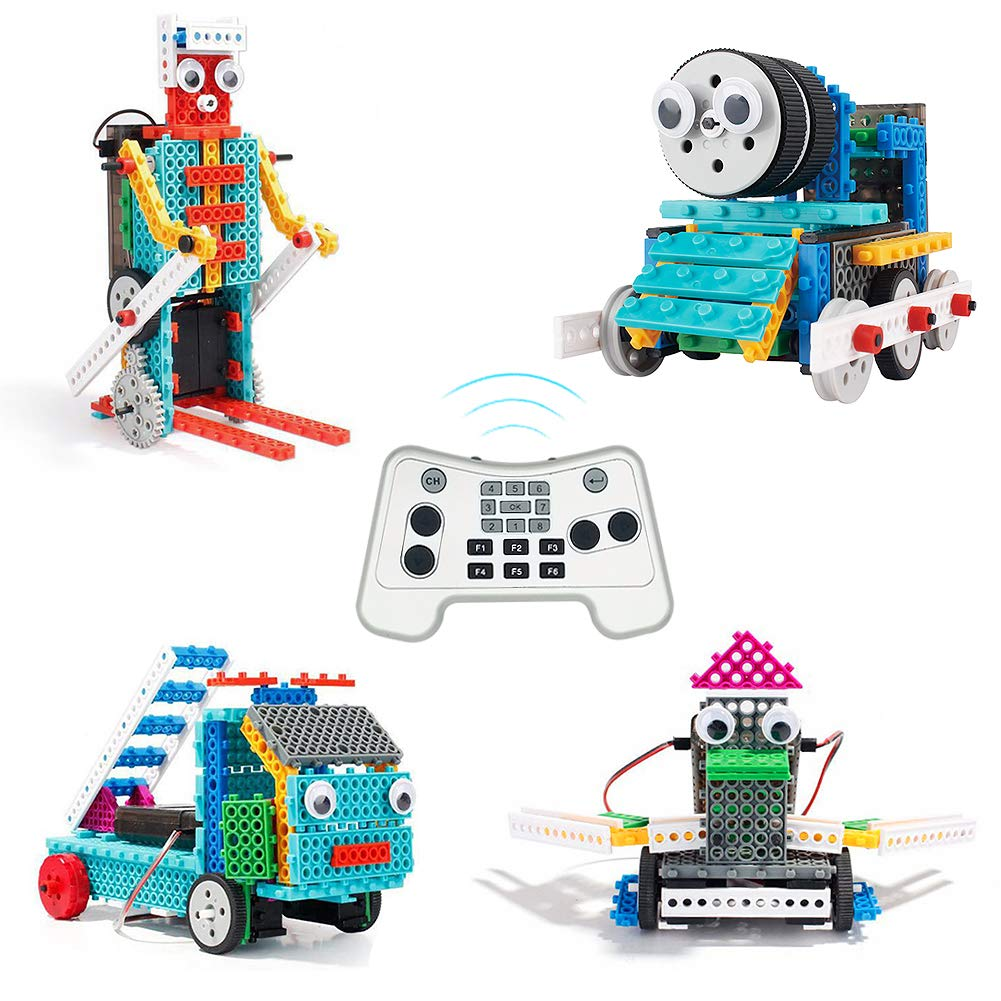 PETUOL 4 in 1 Remote Control Building Kits, 170PCS STEM Robot Toys for Boys Girls Age 5 6 7 8 9 10 Fun Building Blocks for Fire Truck Train Skier Duck Function Christmas by PETUOL