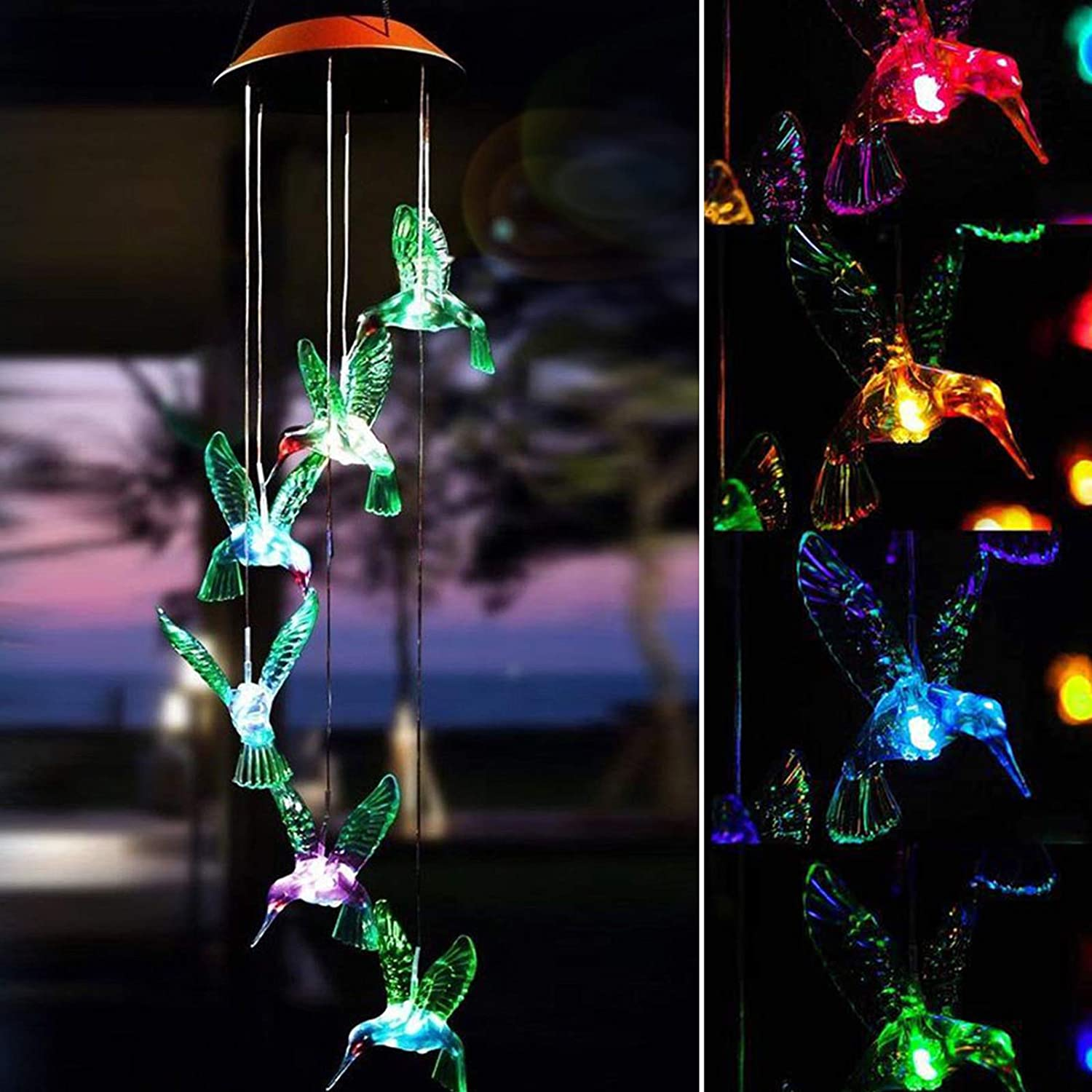 Hummingbird Solar Wind Chimes, Color-Changing Outdoor Waterproof LED Wind Chime Solar Powered Colorful Light for Home/Party/Yard/Garden Decoration