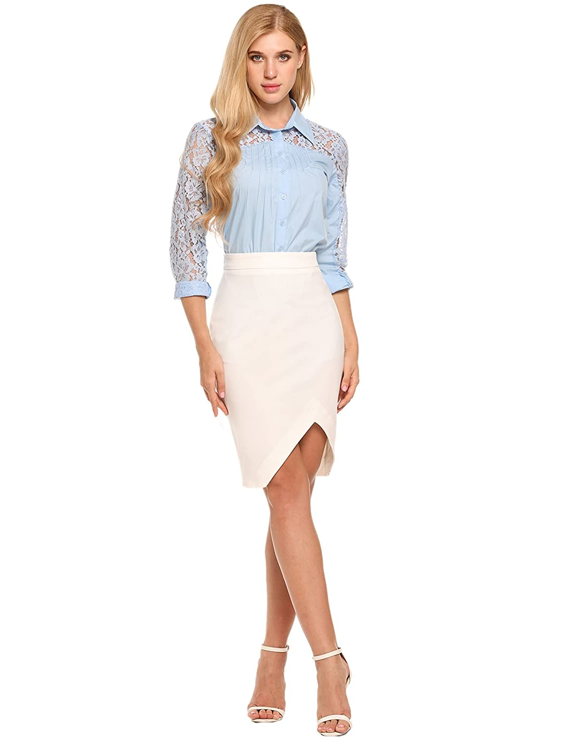 c1bdeaa69 Zeagoo Women's High Waist Stretch Bodycon Pencil Skirt for Office Wear Plus  Size Casual Skirt: Amazon.co.uk: Clothing