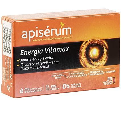 Apisérum Vitamax Cápsulas - Aporte de Energía Extra y Vitalidad Favorece el rendimiento físico e intelectual Con Jalea Real, Vitaminas A,C,D,E,H y ...