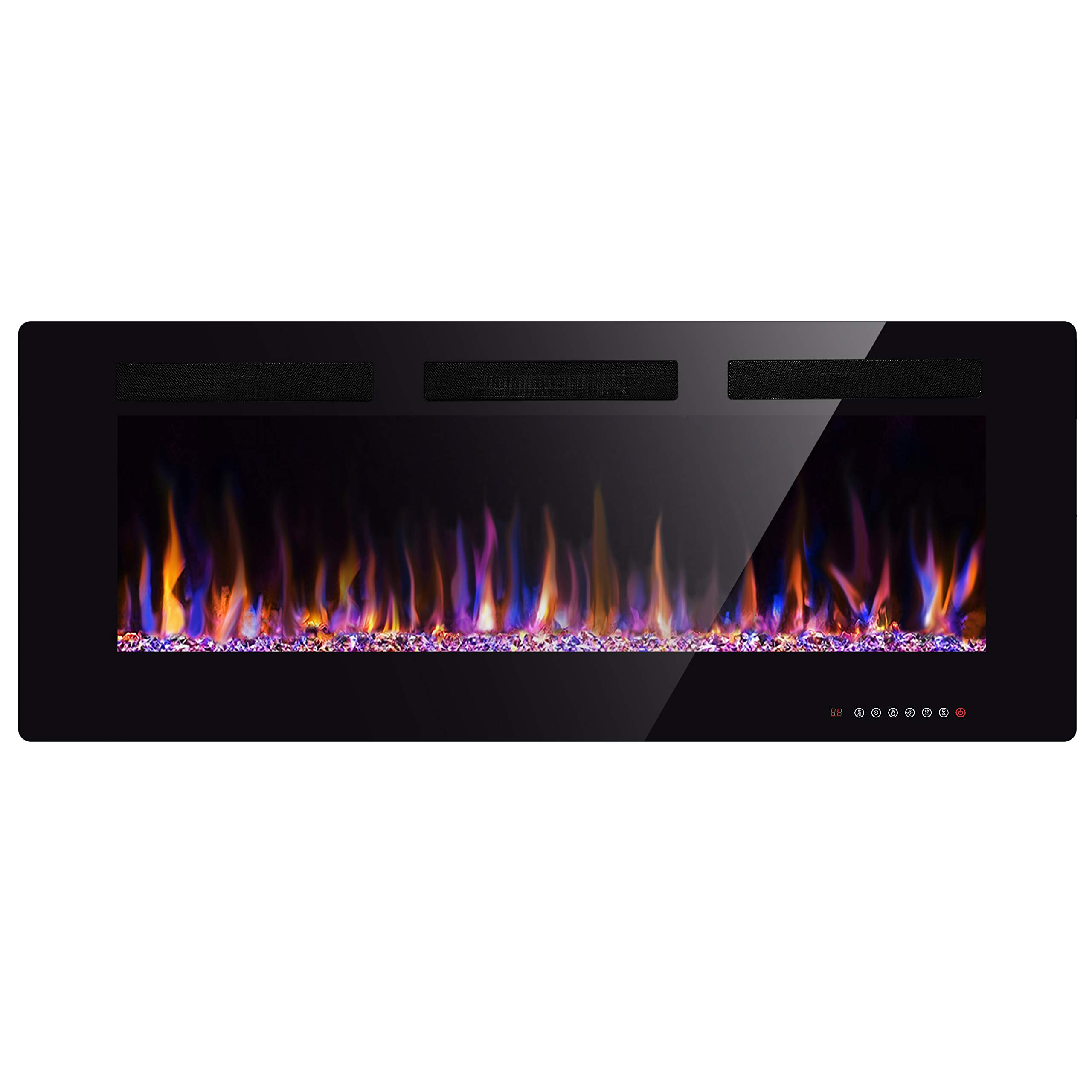 Xbeauty 50'' Electric Fireplace in-Wall Recessed and Wall Mounted 1500W Fireplace Heater and Linear Fireplace with Timer/Multicolor Flames/Touch Screen/Remote Control (Black) by Xbeauty