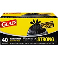 Glad Large Quick-Tie Trash Bags - Extra Strong 30 Gallon Black Trash Bag - 40 Count