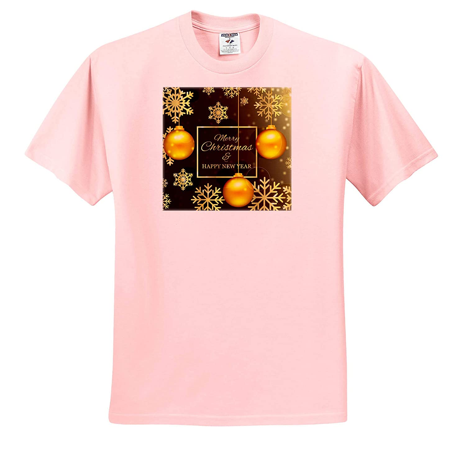 Merry Christmas and a Happy New Year with Snow and Balls T-Shirts 3dRose Sven Herkenrath Christmas