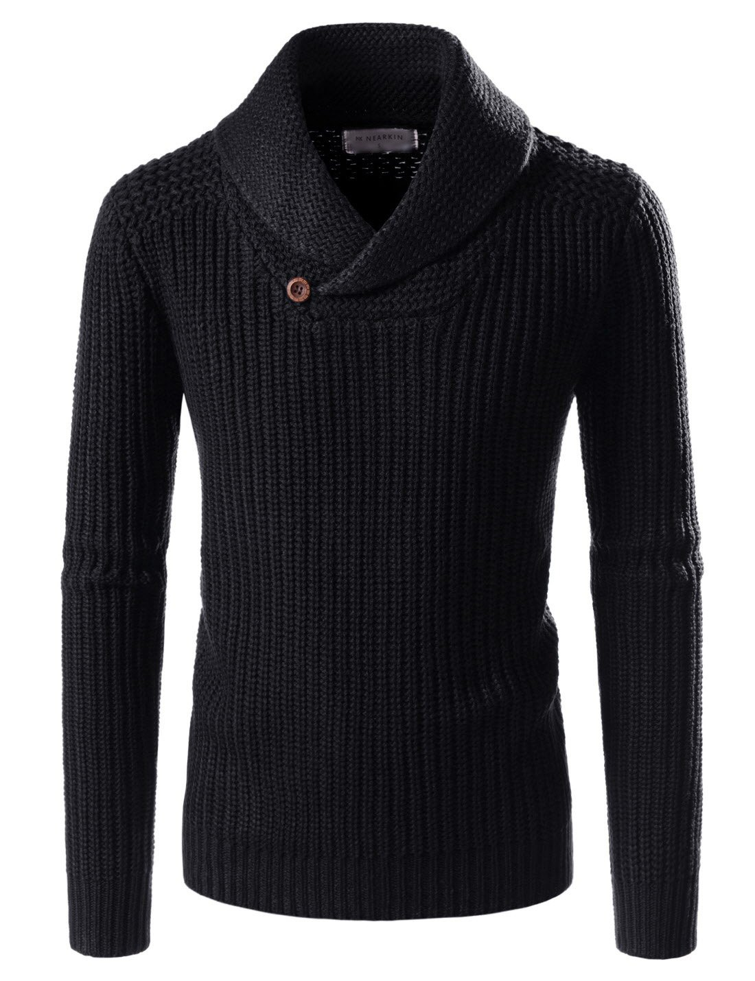 NEARKIN (NKNKKN701) Mens Ribbed Wool Blend Pullover Shawl Collar Knitted Sweaters BLACK US S(Tag size S)