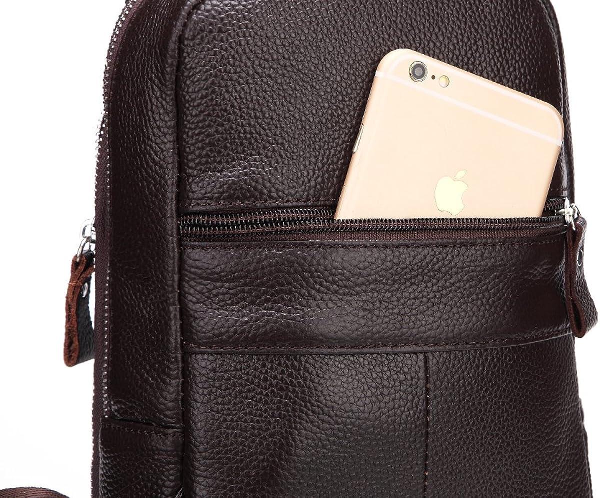 Sporty Genuine Cowhide Litchi Grain Leather Men/'s Chest Bag Waist Bag