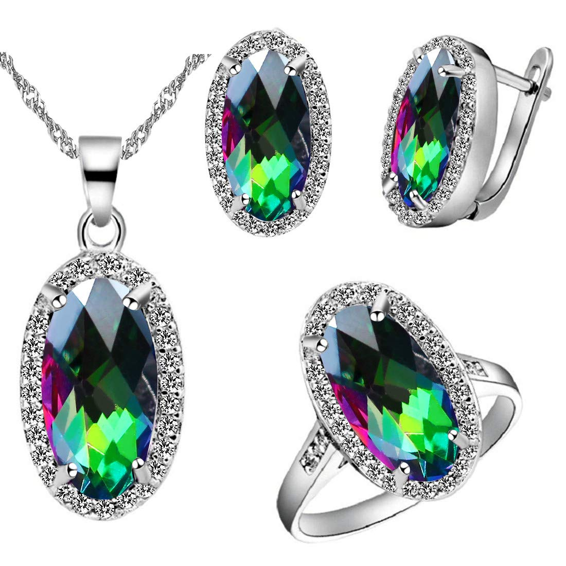 Uloveido Rainbow Multi Color Crystal White Gold Plated Jewelry Necklace Earrings and Ring Set for Women T482 T481-Multi-6