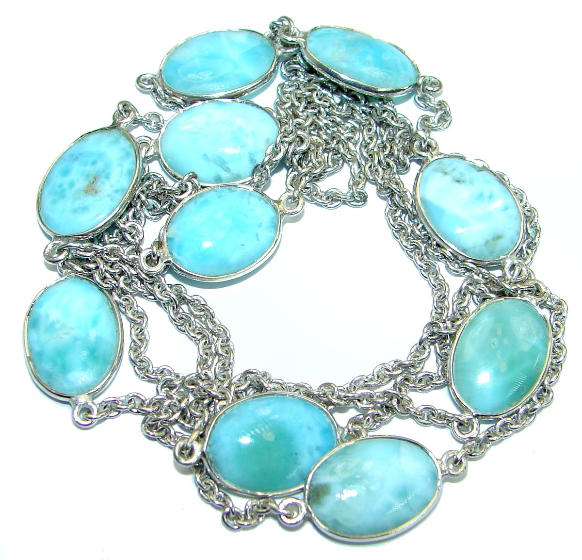 SilverRush Style Larimar Women 925 Sterling Silver Necklace - FREE GIFT BOX