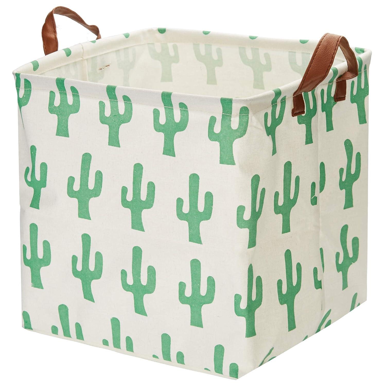 Storage Basket, Large Size Basket Storage - Waterproof and Folding Canvas Fabric Kids Laundry Basket (Catus)