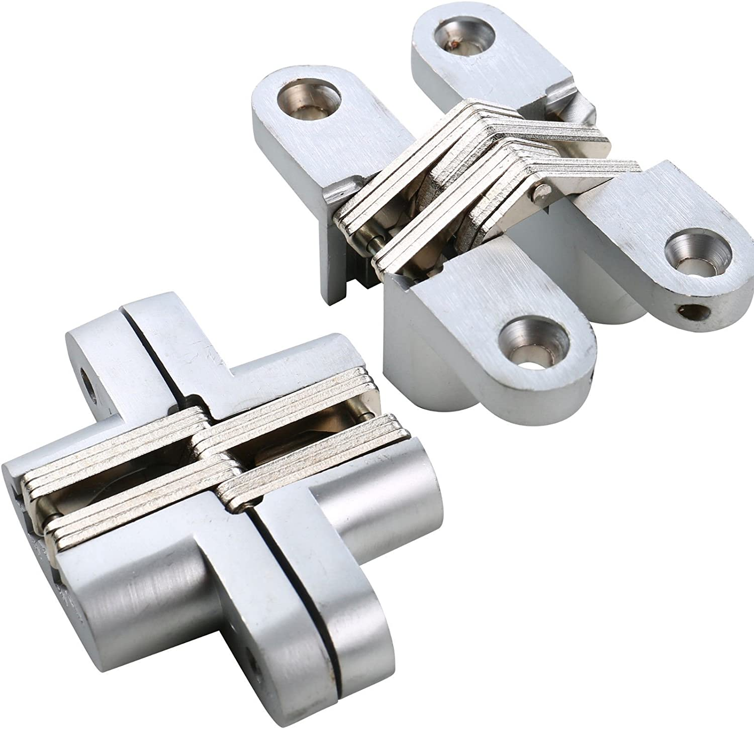 Pair 64# Polished Invisible Hidden Conceal Mounted Door Blind Cross Hinge 180º - -