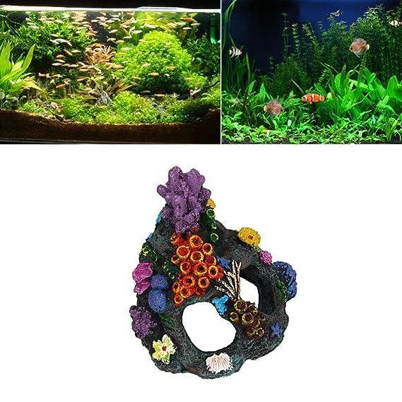 Kaiki simulación de peces y camarones agujero Retro Coral montaña, resina de dibujos animados castillo castillo de acuarios decoración acuario pecera Torre: ...