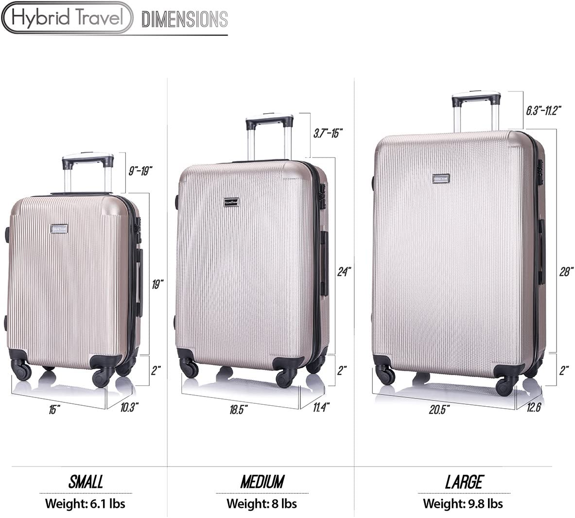 Champagne 3 Pieces HyBrid /& Company Luggage Set Durable Lightweight Hard Case Spinner Suitcase LUG3-LY71