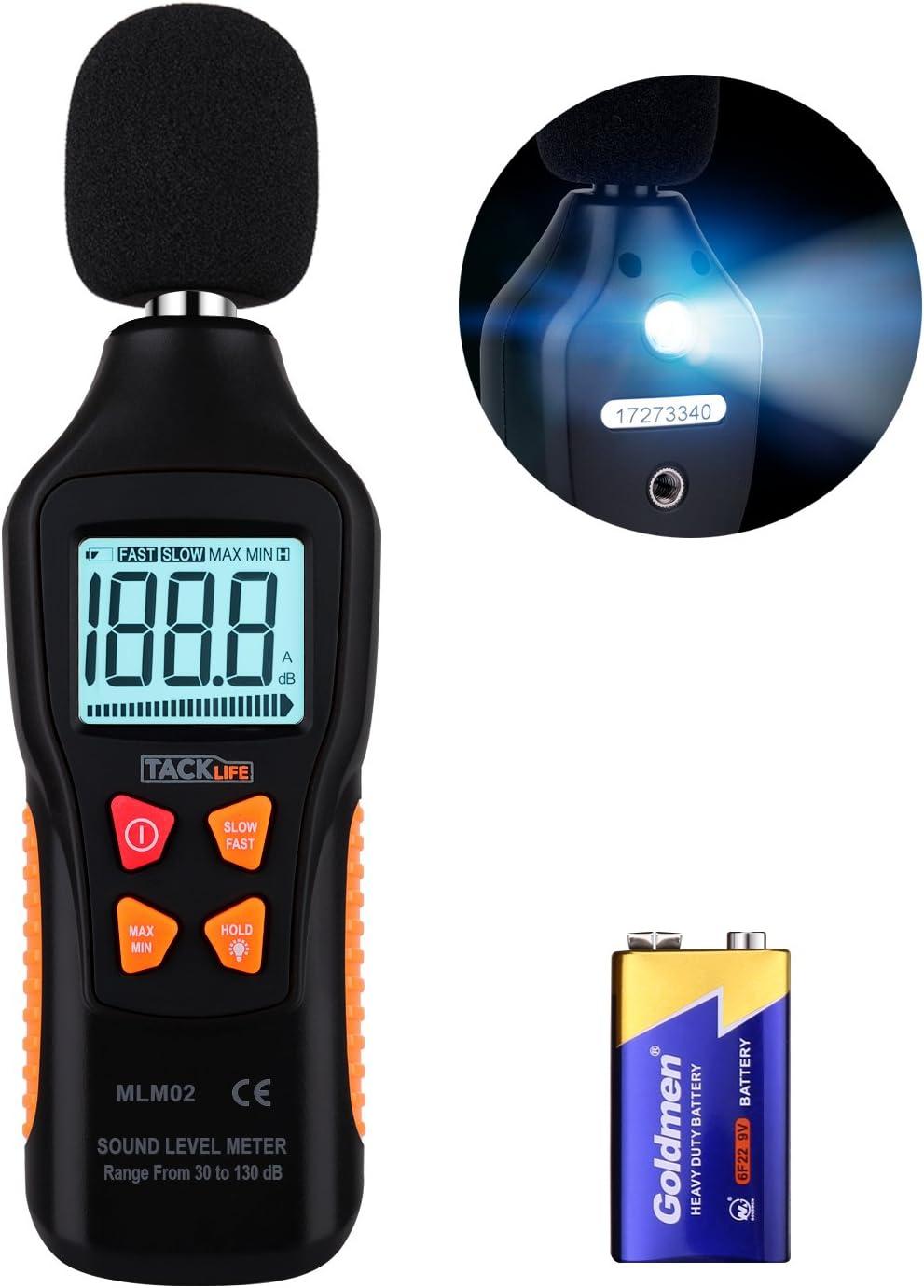 Medidor de Sonido, Tacklife MLM02 Decibelímetro, 30-130dB, Modo Rápido/Lento, LCD Retroiluminada, con Linterna, Batería Incluida, Precisión: ±1.5 dB, Medir Ruido en Casa, Oficina, Teatro, Fábrica