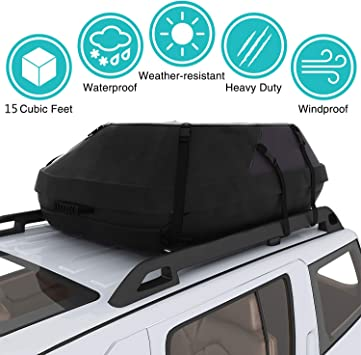 Moroly Car Top Carrier Waterproof Rooftop Cargo Carrier Bag Includes Heavy Duty Straps for Vehicle Car Truck SUV Vans,Travel Cargo Bag Box Storage Luggage