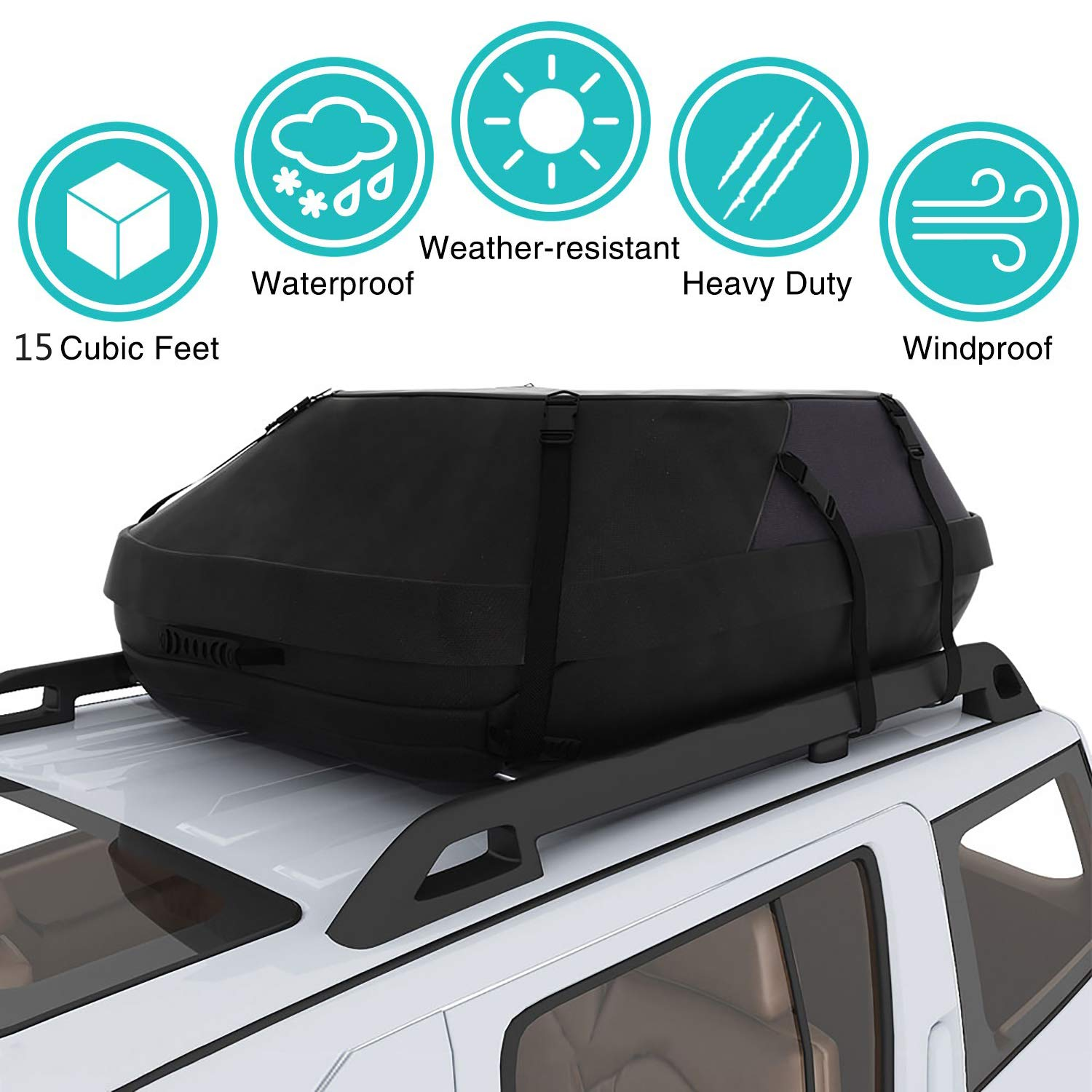 Moroly Car Top Carrier Waterproof Rooftop Cargo Carrier Bag Includes Heavy Duty Straps for Vehicle Car Truck SUV Vans,Travel Cargo Bag Box Storage Luggage (15 Cubic FEET(41'' x 35'' x 17'')) by Moroly
